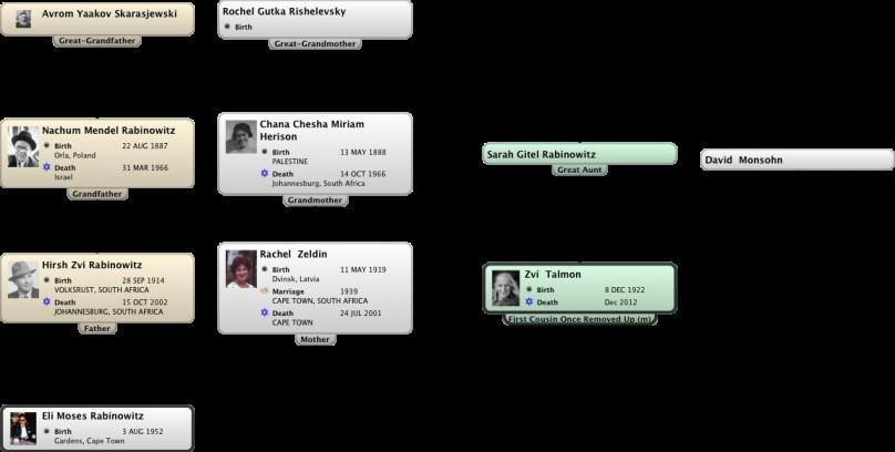 Relationship Chart Eli Moses Rabinowitz:Zvi  Talmon