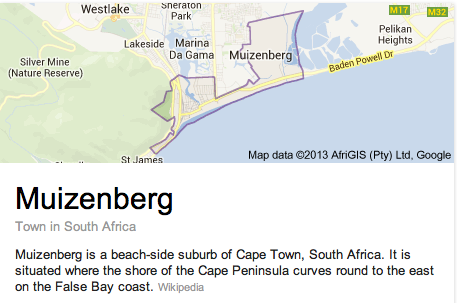 Muizenberg Google Map