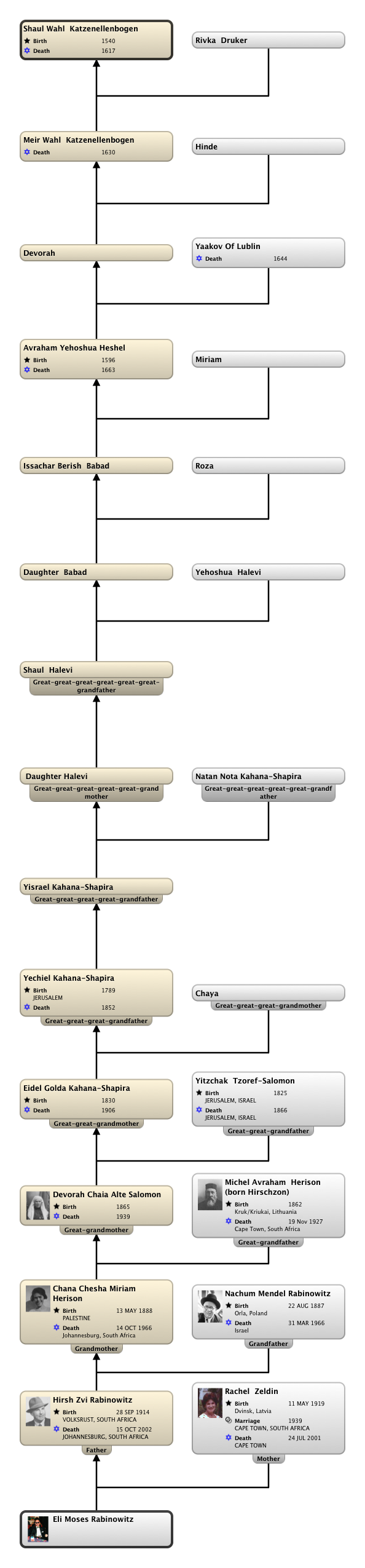 Relationship Chart Eli Moses Rabinowitz:Shaul Wahl  Katzenellenbogen