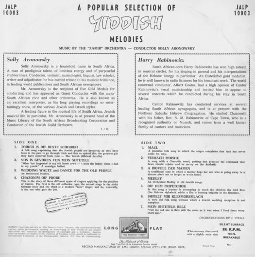 Yiddish Melodies Back Cover