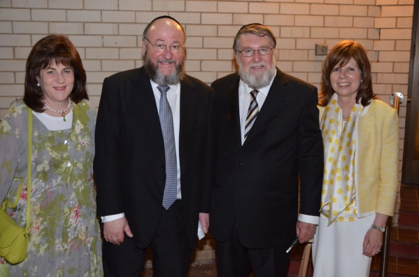 Rebbetzin Valerie and Chief Rabbi Mirvis, Rabbi Dovid and Aviva Freilich. Photo by Sas